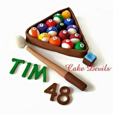 Pool Table Cake Topper, Billiards Cake Decorations