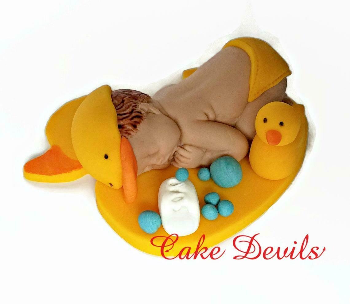Duck Baby Shower Fondant Cake Topper