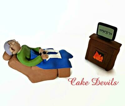 Man in Recliner Cake Topper perfect for Retirement Cake Topper, Fondant