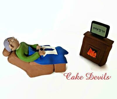 Man in Recliner Cake Topper perfect for Retirement Cake Topper, Fondant