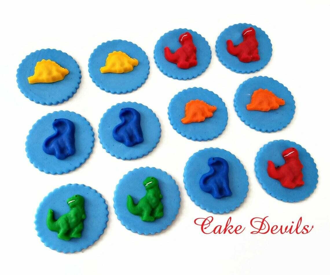 Dinosaur Cupcake Toppers, Fondant Birthday Cake Decorations