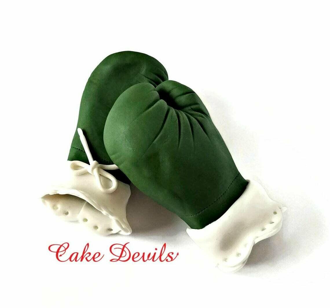 Lace Boxing Gloves Cake Topper, Fondant Camo Boxing Gloves