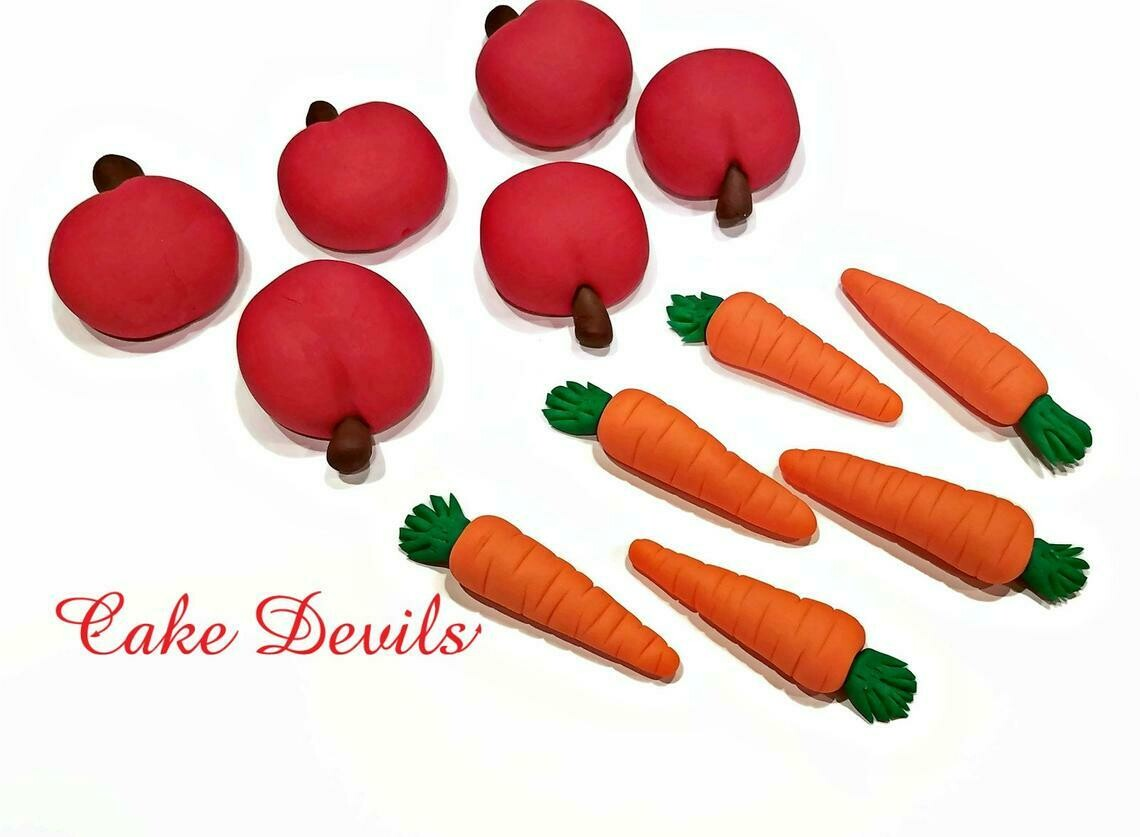 Apple an Carrot Cupcake Toppers, Carrot Cake Decorations, Fondant Garden Party
