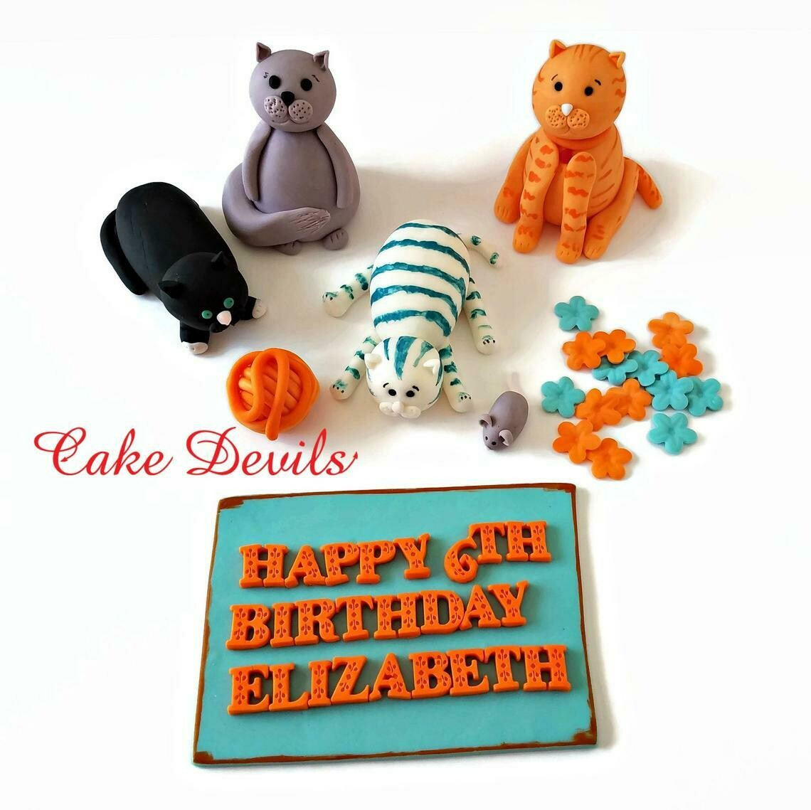 Fondant Cats Cake Toppers with yarn and mouse for a birthday cake