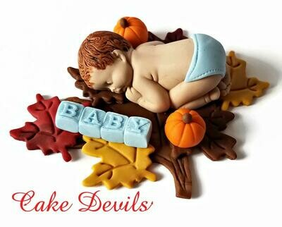 Fall Fondant Baby Shower Cake Topper for a Pumpkin Baby Shower, Sleeping baby with Fondant Baby Blocks and Fall leaves Cake Decorations