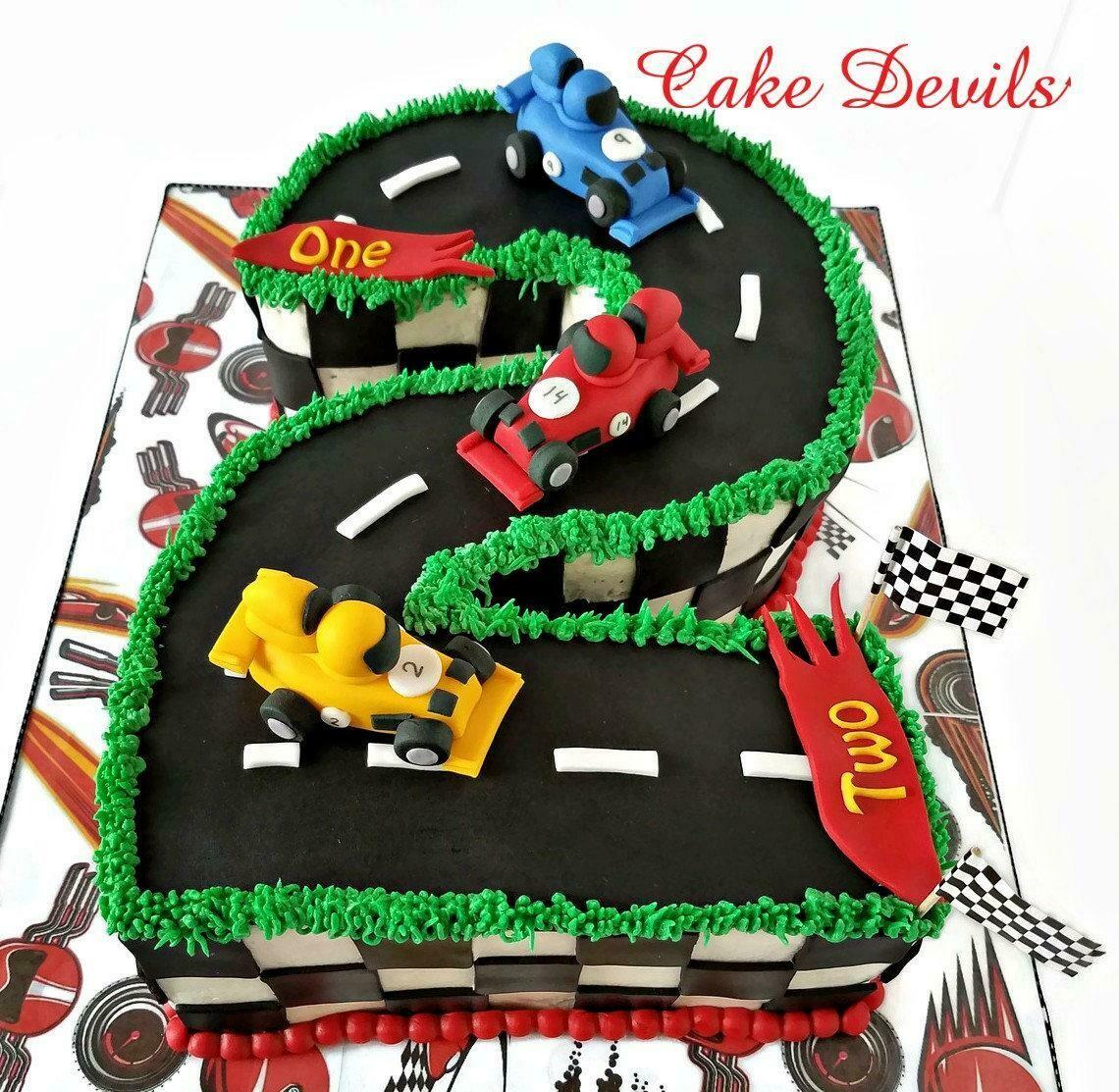 Mini Race Car Fondant Cake Toppers, Handmade Sports Car Cake Decorations for Birthday Cake