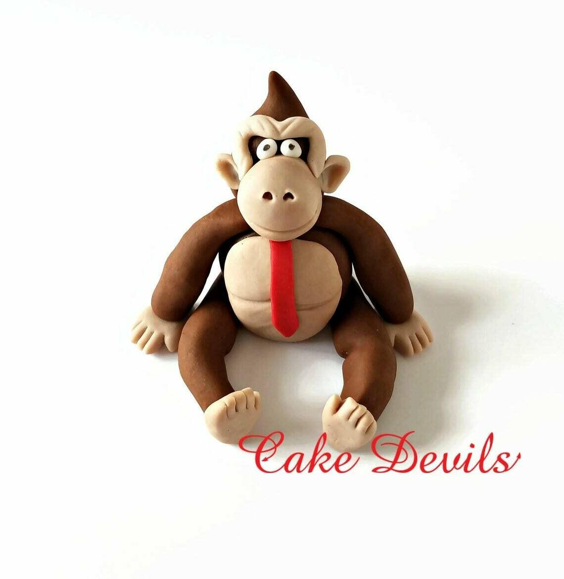 Gorilla Cake Topper, Donkey Kong Cake, Fondant Monkey for video game birthday party