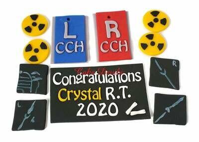 Radiology Fondant Cake Topper Kit, x-rays, xray markers, biohazard, Medical Cake decorations