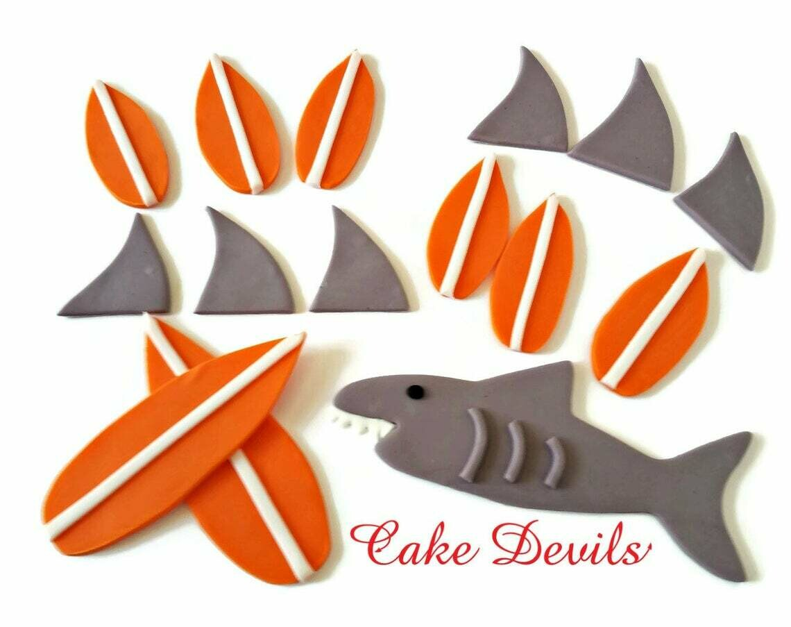 Surfboard and Shark Fin Fondant Cupcake and Cake Toppers, Great for an Ocean theme Birthday Party Cake