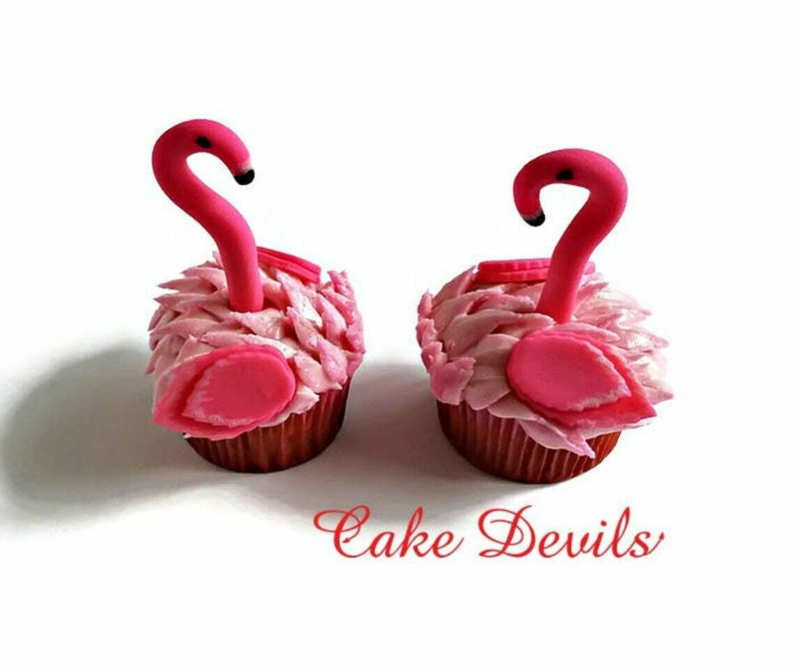 Flamingo Cupcake Toppers, Fondant, Flamingo Birthday Party,  or, Luau