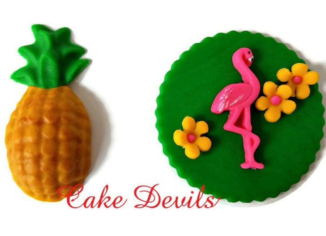 Flamingo and Pineapple Fondant Cupcake Toppers
