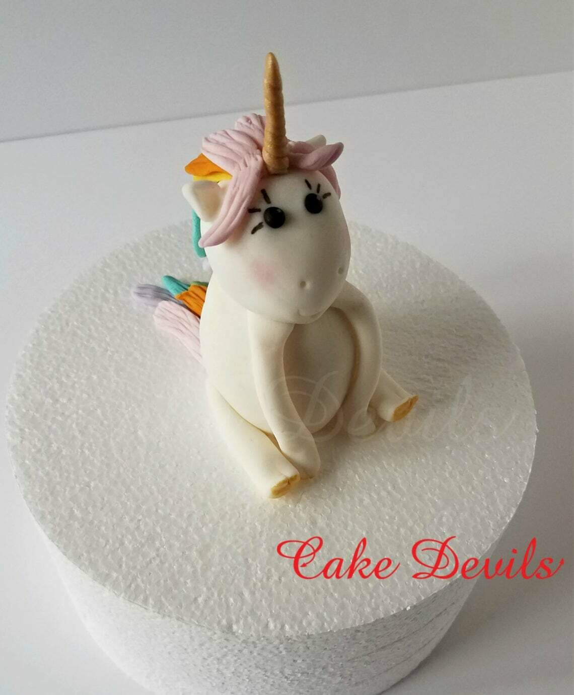 Unicorn Fondant Cake Topper with Rainbow Hair