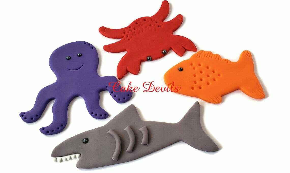 Ocean Life Fondant Cake Toppers, Fish Cake Decorations for Beach Party, Shark, Dolphin, Crab, Whale, Octopus, Handmade Edible Sea Creatures