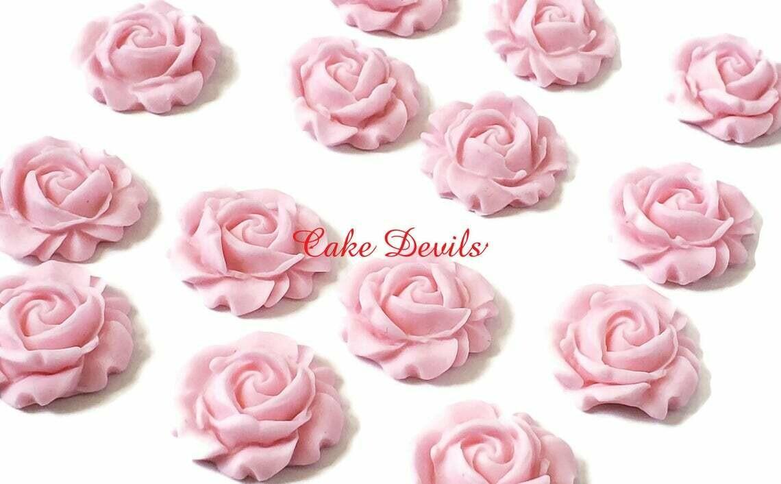 Fondant Rose sugar Flowers, Edible Roses Flowers, Flower Cupcake Toppers