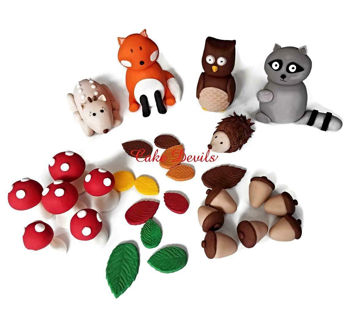 Woodland Creatures Cake Kit, Fox, Owl, Deer, Raccoon, Porcupine, Mushrooms, Acorns, Leaves, Fondant Woodland Cake Toppers