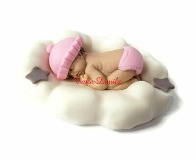 Fondant Baby Sleeping on a Cloud, Baby on Cloud Baby Shower Cake topper