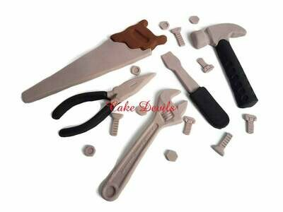 Tools Cake Toppers, Tools Cake Decorations, Fondant tools, Toolbox Cake