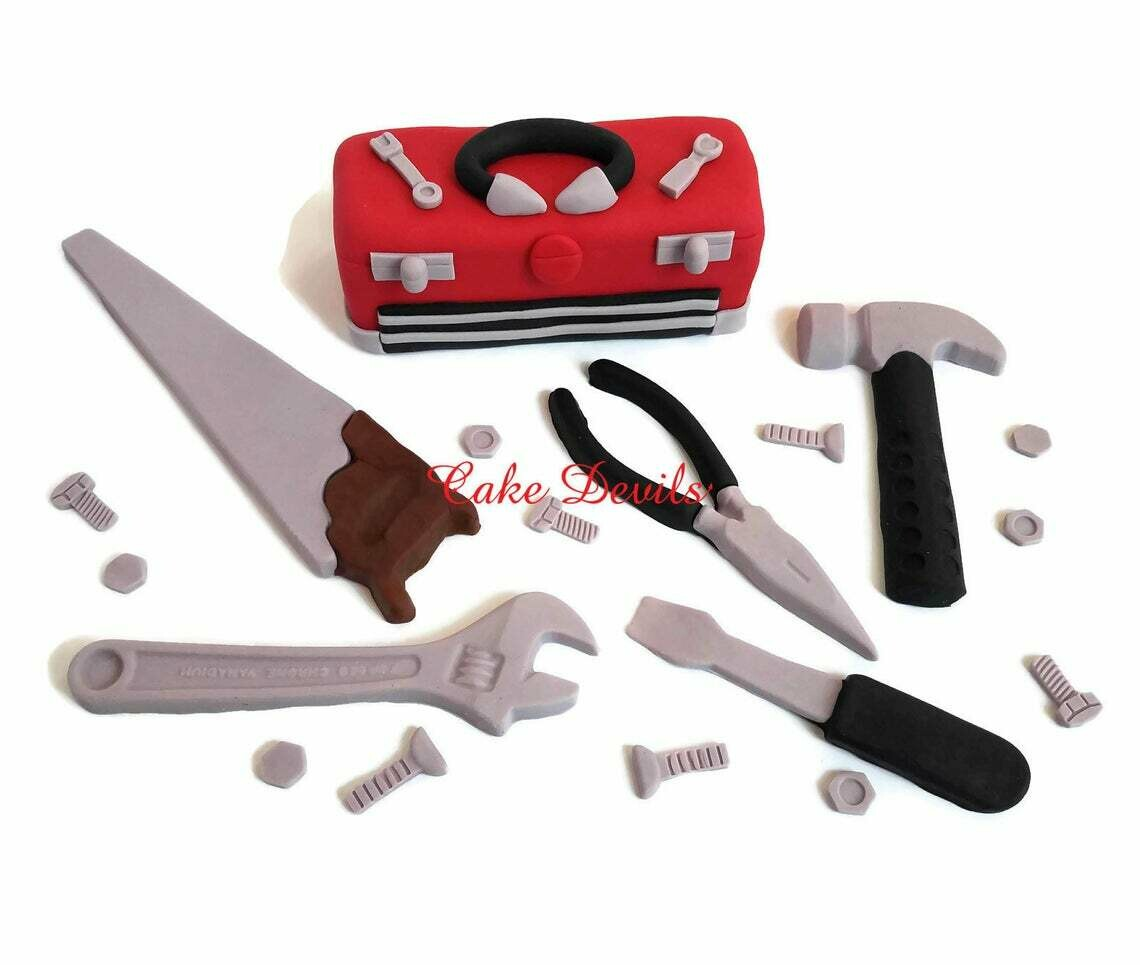 Toolbox Cake Toppers with Fondant Tool Cake Decorations