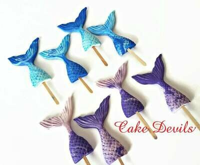 Mermaid Tail Fondant Cupcake Toppers, Fondant Mermaid Tails, Under the Sea cake decoration
