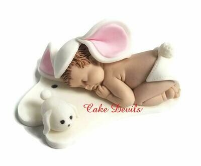 Fondant Bunny Baby Shower Cake Topper, Easter, Baby Bunny Rabbit