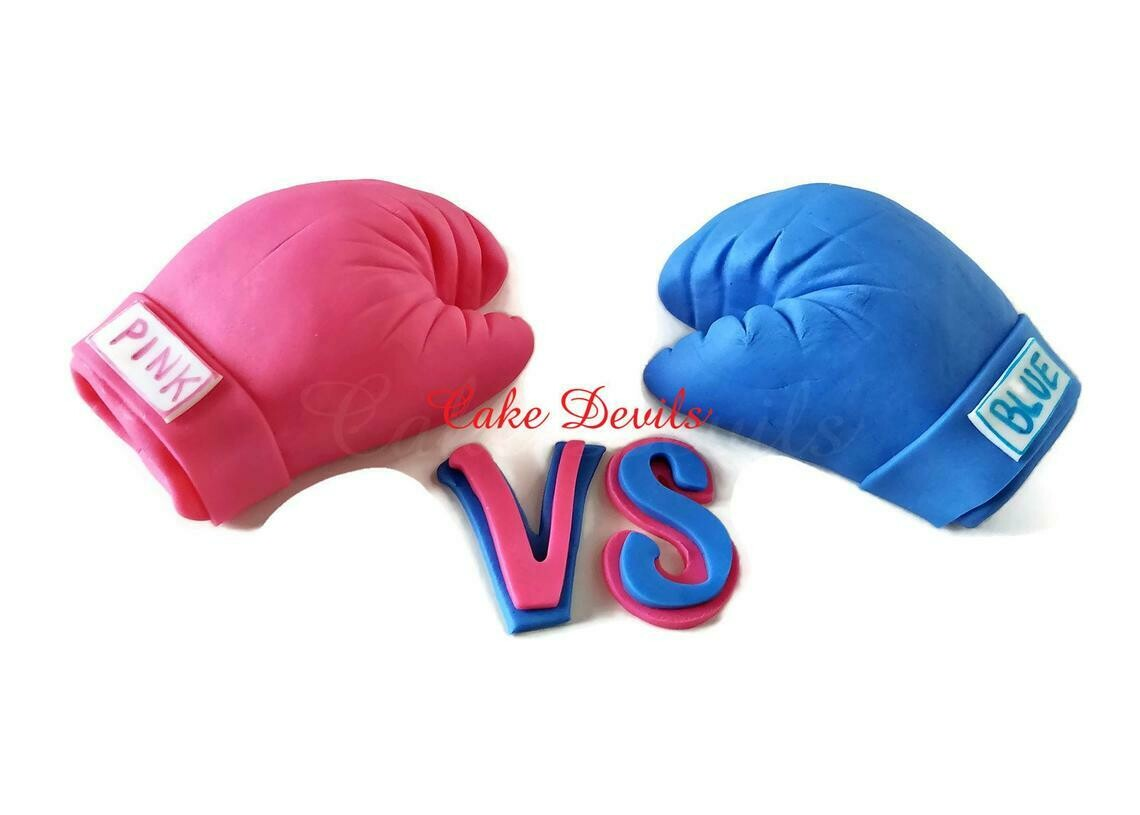 Gender Reveal Boxing Gloves Cake Topper, Pink vs Blue Gender Reveal Party