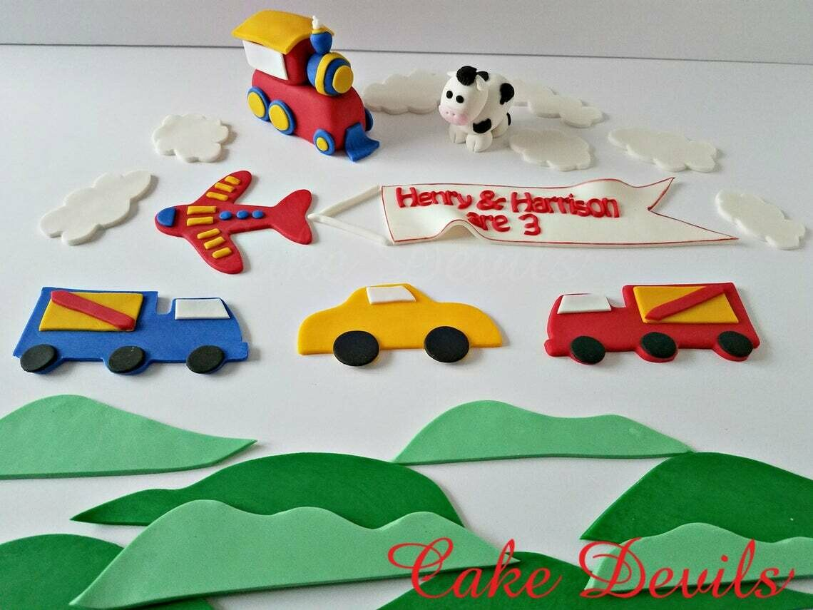 Modes of Transportation Fondant Cake Topper Kit - Train, Plane with banner, Truck, Cow, and Car Cake Decorations, All Handmade Edible cake decor