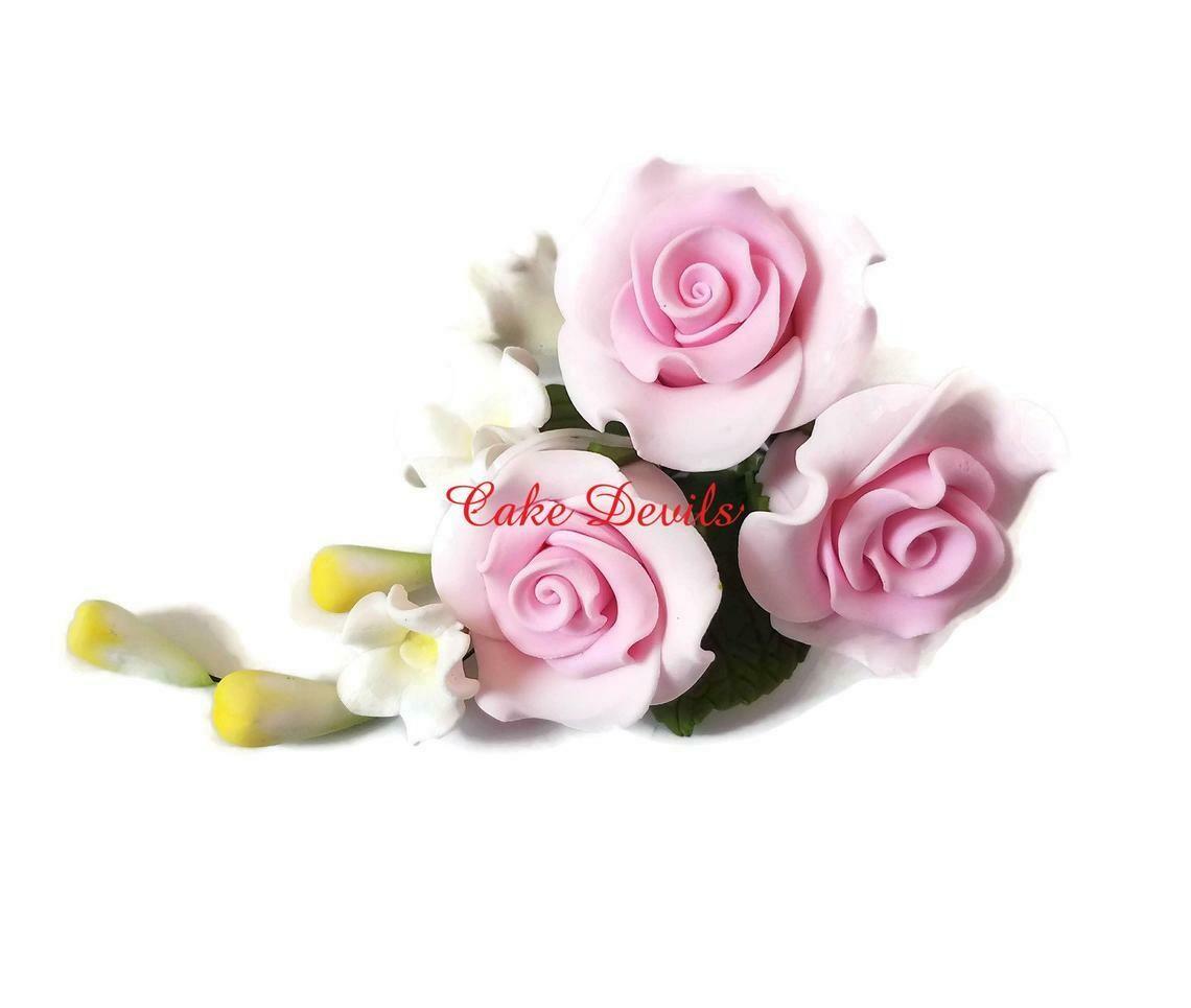 Fondant Roses Floral Wedding Cake Topper of Pink Gumpaste Rose Spray