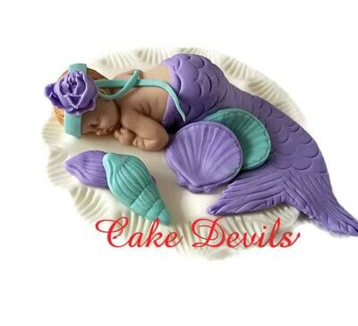 Fondant Mermaid Baby Shower Cake Topper, Baby girl, sleeping baby, Mermaid Baby Cake Decoration, Baptism, Christening, Handmade Edible