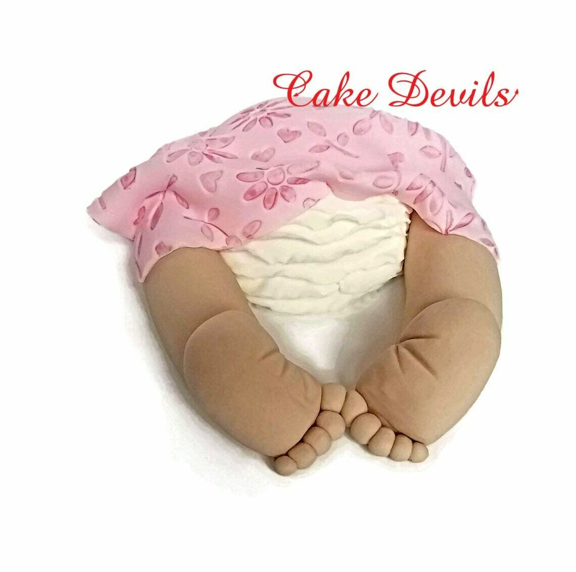 Ruffled Diaper Baby Butt Baby shower Cake Topper - Fondant Baby Butt, Handmade Edible Baby Shower Cake Decorations