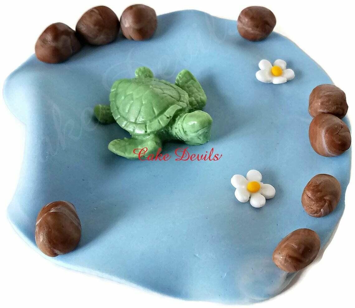 Turtle Cake Topper, Fondant Sea Turtle Cake Decoration