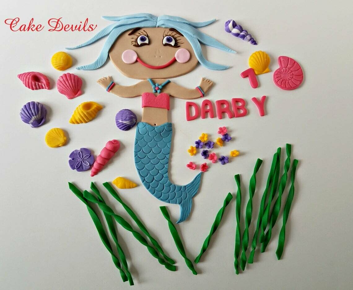 Large flat Mermaid Fondant Cake Topper with optional Scuba Diver Mask Cake Topper, Great for a sheet cake!