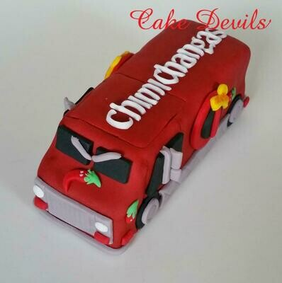 Dead Pool Food Truck Cake Topper, Fondant, Handmade Edible, Chimichangas Truck