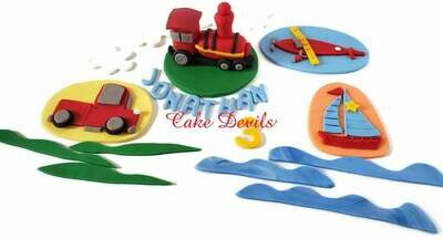 Transportation Fondant Cake Topper Kit - On The Go Fondant Cake Toppers of Train, Plane, Car, and Boat Cake Decorations,