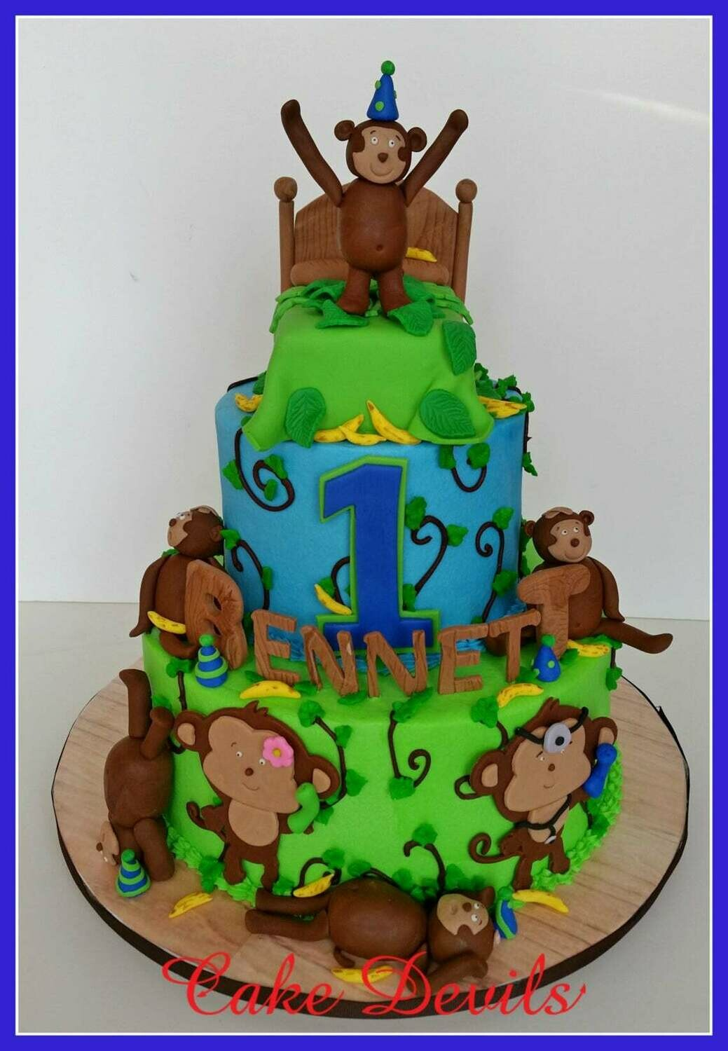 5 Little Monkeys Jumping on the Bed fondant Cake toppers