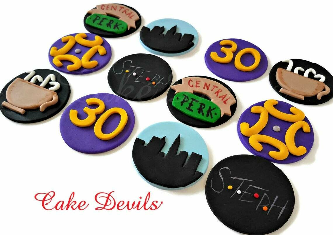 Friends Cupcake Toppers, Fondant, Friends frame, NYC skyline, central perk mug, name, age, friends cupcake decorations