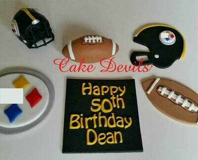 Football theme cake topper kit, Fondant Football and Helmet, Personalized Plaque
