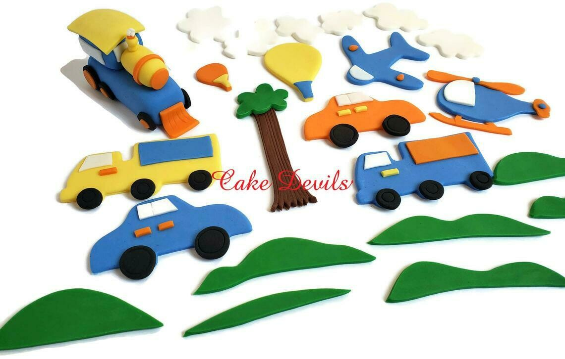 Train and Transportation Party Cake Decorations, Fondant Cake Topper Kit - Train, Helicopter, Plane, Truck, Car, Tree Cake, boy birthday party cake