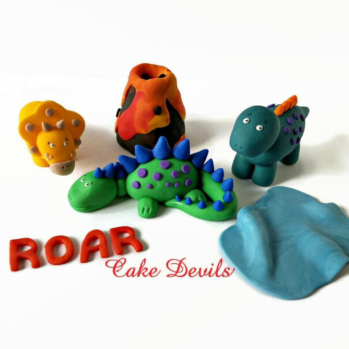 Dinosaur Cake kit with Fondant Volcano Cake Topper