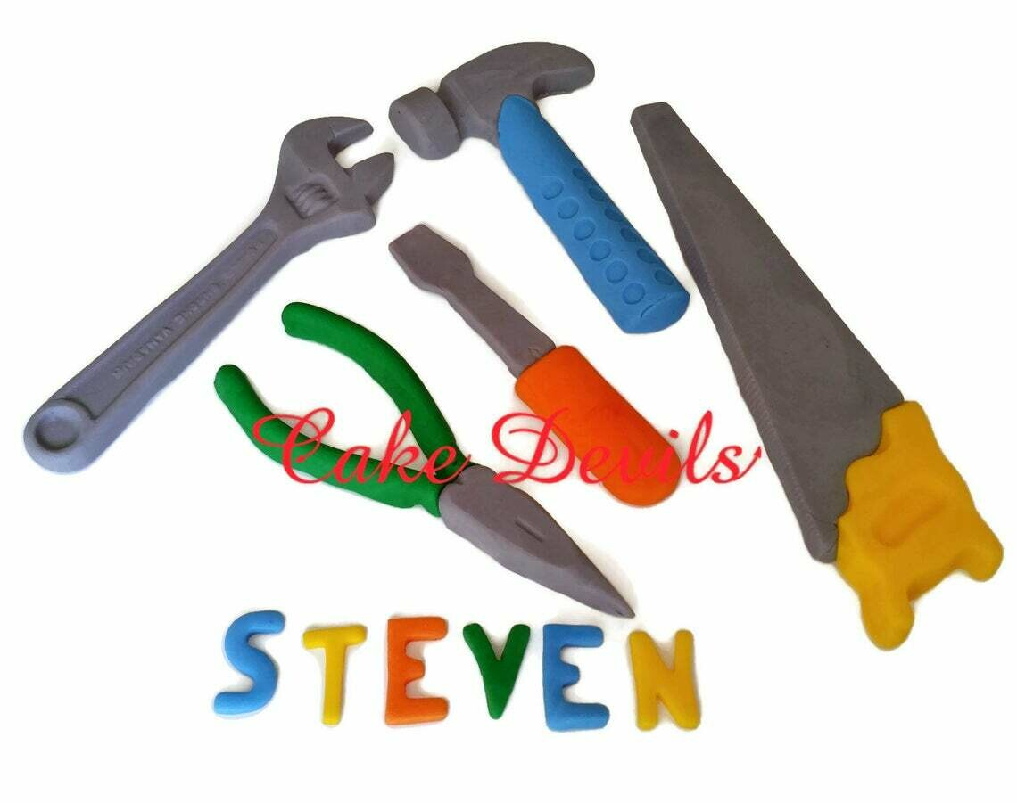 Tool Party Cake Toppers of Colorful Tools Cake Decorations,