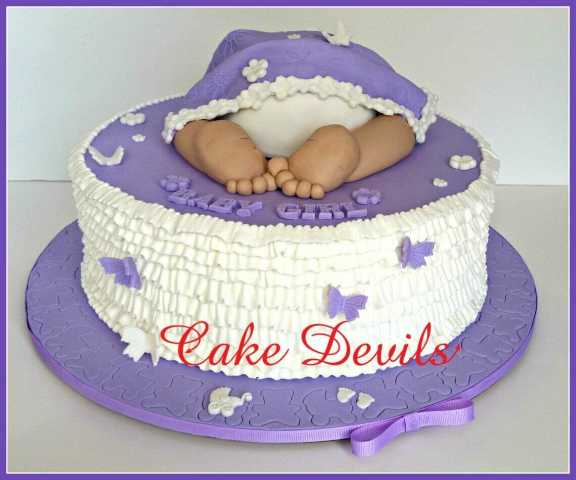 Baby Butt Cake Topper with blanket, Butterflies, and words