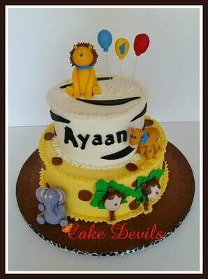 Safari Animal Fondant Cake Topper Kit with Lion, Elephant, Giraffe, and Monkey