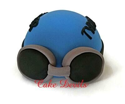 Swim Cap Cake Topper, Fondant Swimmer Cap with Goggles, Swim Team,