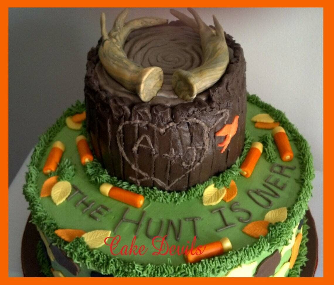 Fondant Hunting Cake Toppers, Deer Antler Cake Decorations, Camo Cake, Shotgun cake, The Hunt is Over, fondant hunting cake decorations