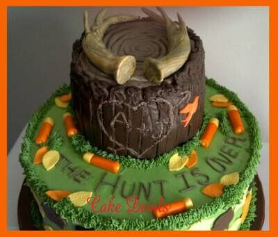 Fondant Hunting Cake Toppers, Deer Antler Cake Decorations, Camo Cake, Shotgun cake, The Hunt is Over, fondant hunting cake decorations