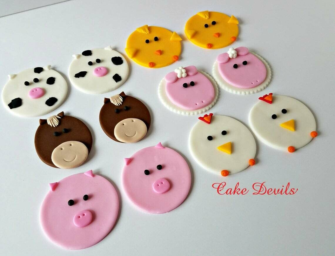 Farm Animal Face Cupcake Toppers, Horse, Pig, Sheep, Cow, Chicken, Duck