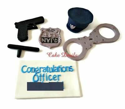 Police Officer Cake Decorations, Police Academy Graduation Fondant Cake Toppers, Police Retirement Cake Toppers