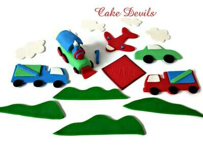 Transportation Fondant Cake Topper Kit - Train, Plane, Truck, Car Cake Decorations, Handmade Edible