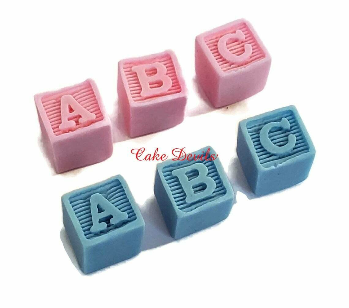 Baby Blocks Cake Decorations, Fondant Baby Blocks Baby Shower Cake Toppers