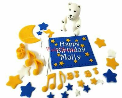 The Night You Were Born Polar Bear Fondant Cake Topper Kit, Stars, Moon, Music Notes Cake Toppers, The Night You Were Born, Handmade Edible