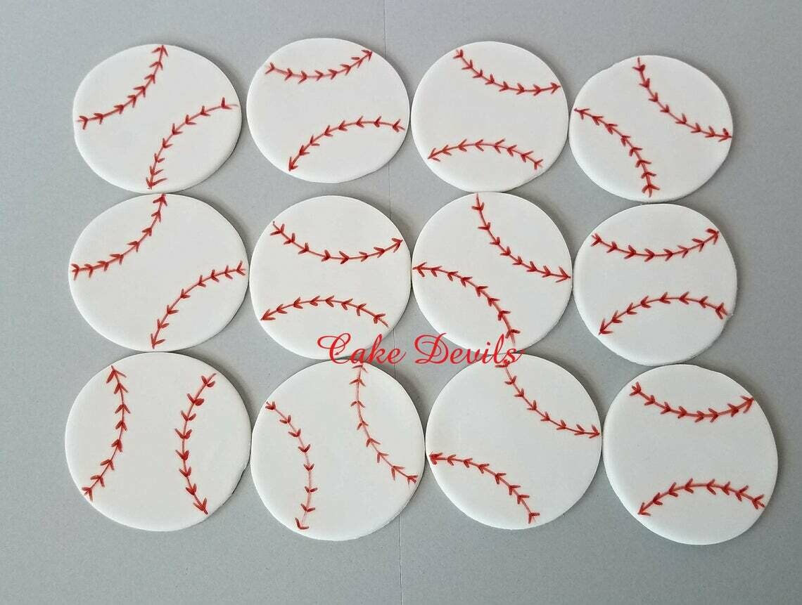 Fondant Baseball Cupcake Toppers, Baseball Cake Decorations